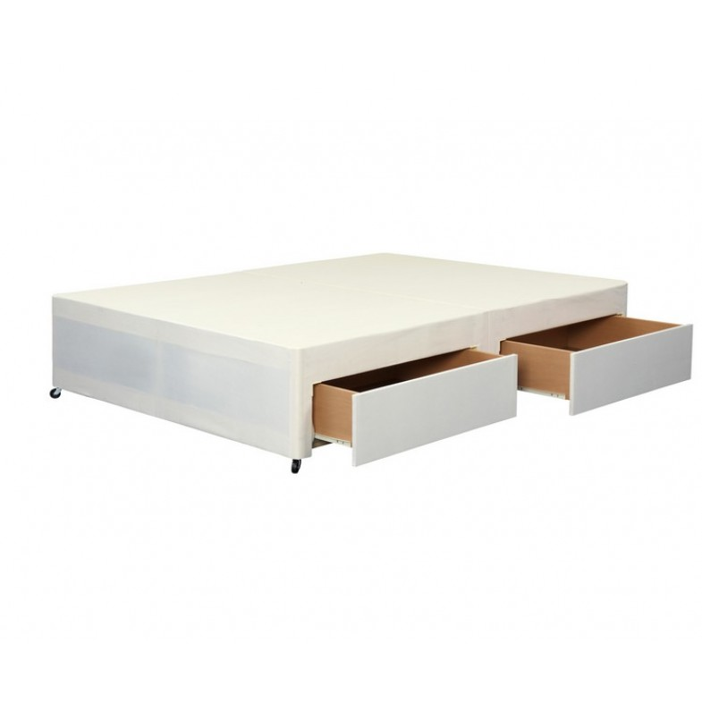 Cotton king 5ft cream divan base with 2 drawers for Divan 4 drawer base