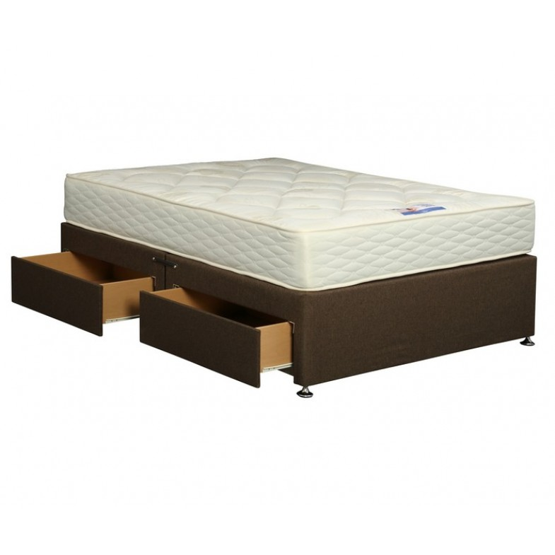 Upholstered king 5ft coffee divan base with 4 drawers for 4 foot divan beds with drawers