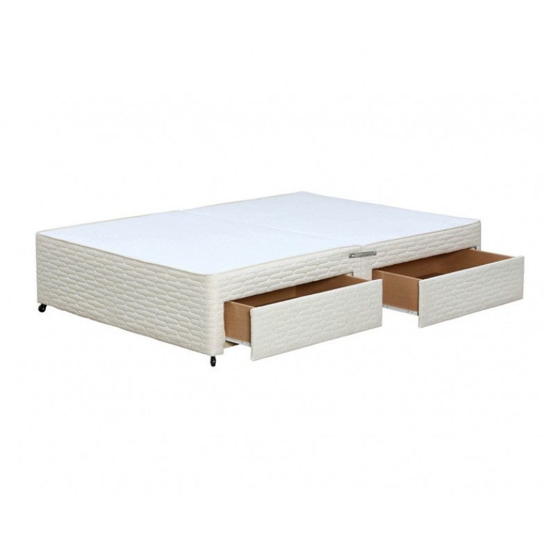 Premier small double 4ft cream divan base with 2 drawers for Double divan with drawers