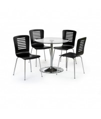 Round Glass Table + 2 Black or White Chatham Chairs